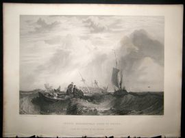 After Turner 1864 Antique Print, Orange Merchentman going to Pieces, Maritime